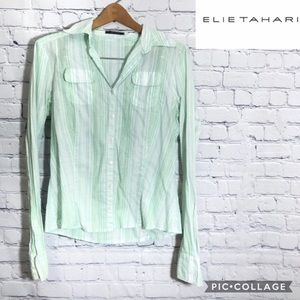 4/$25 Elie Tahari Women's Button Down Green Stripe
